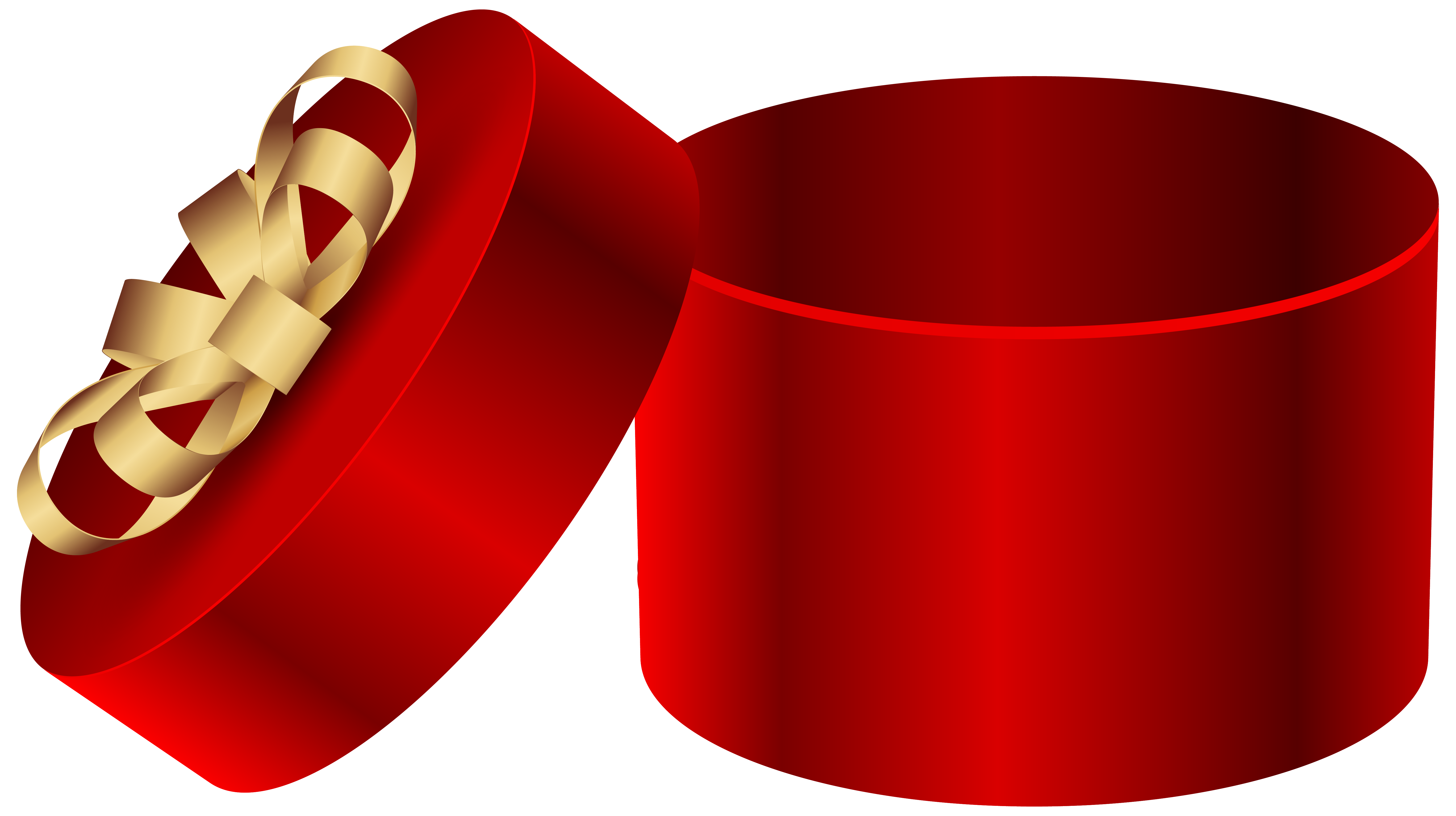 Red open round gift. Clipart present illustration