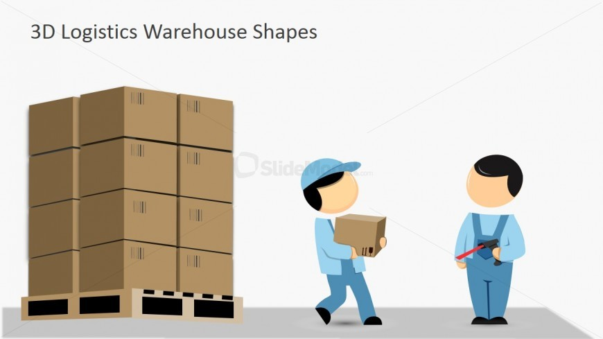 Workers carrying in pallets. Boxes clipart pallet