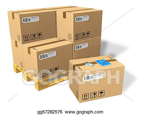 Boxes clipart pallet. Stock illustration cardboard on