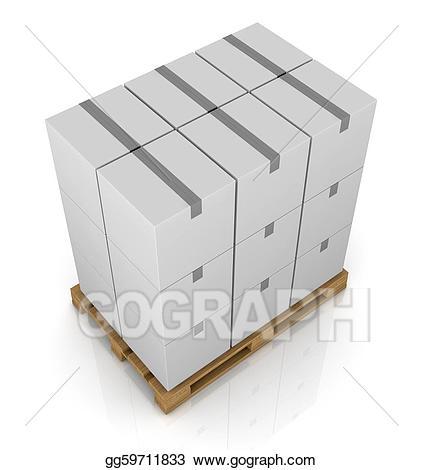 Pallet and carton box. Boxes clipart drawing