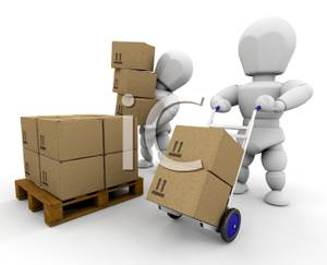 Boxes clipart pallet. Two d men moving