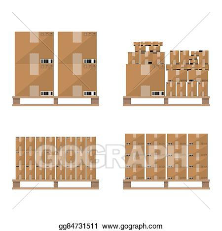 Vector art brown carton. Boxes clipart pallet
