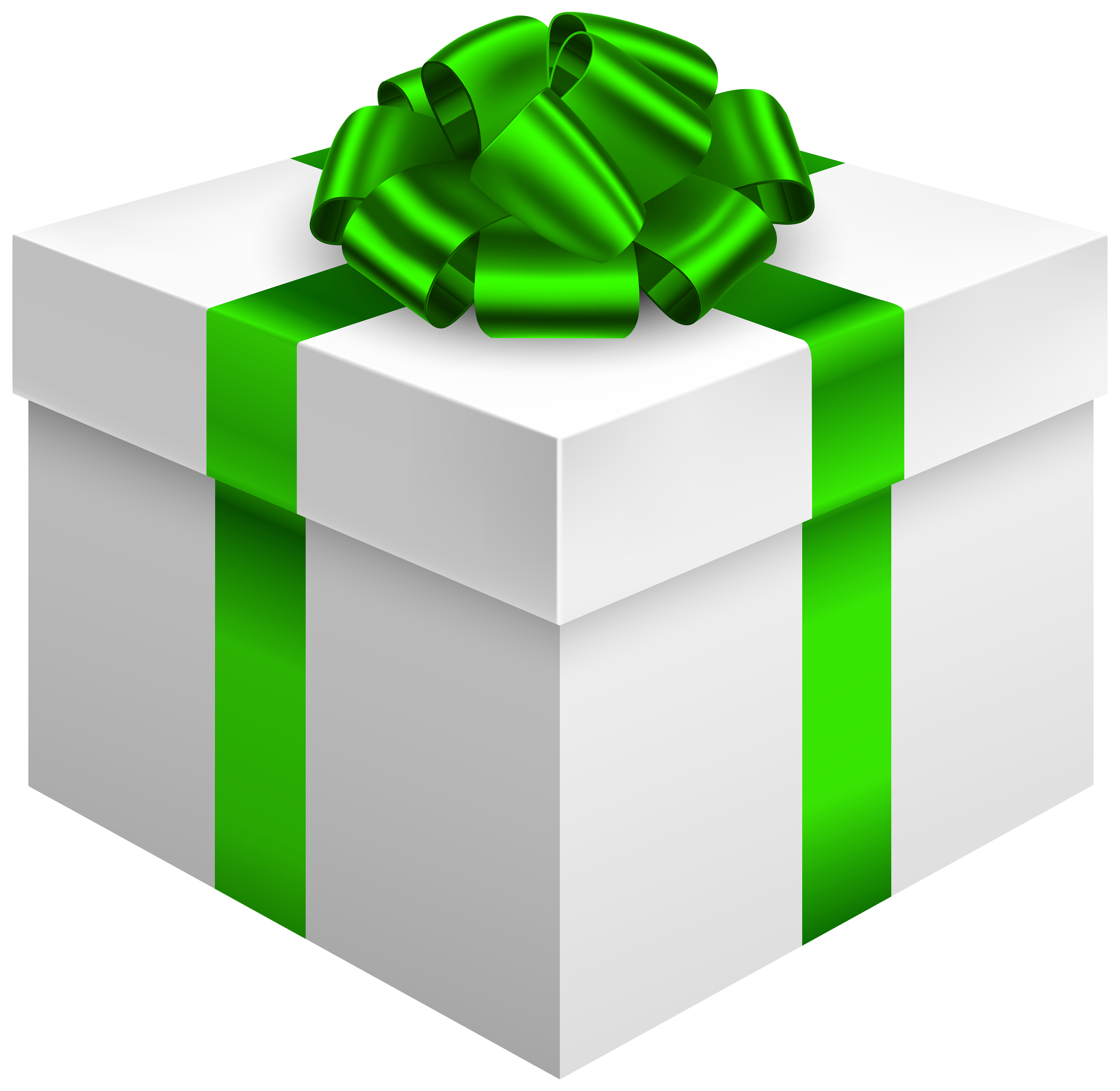 White gift box with. Clipart bow green