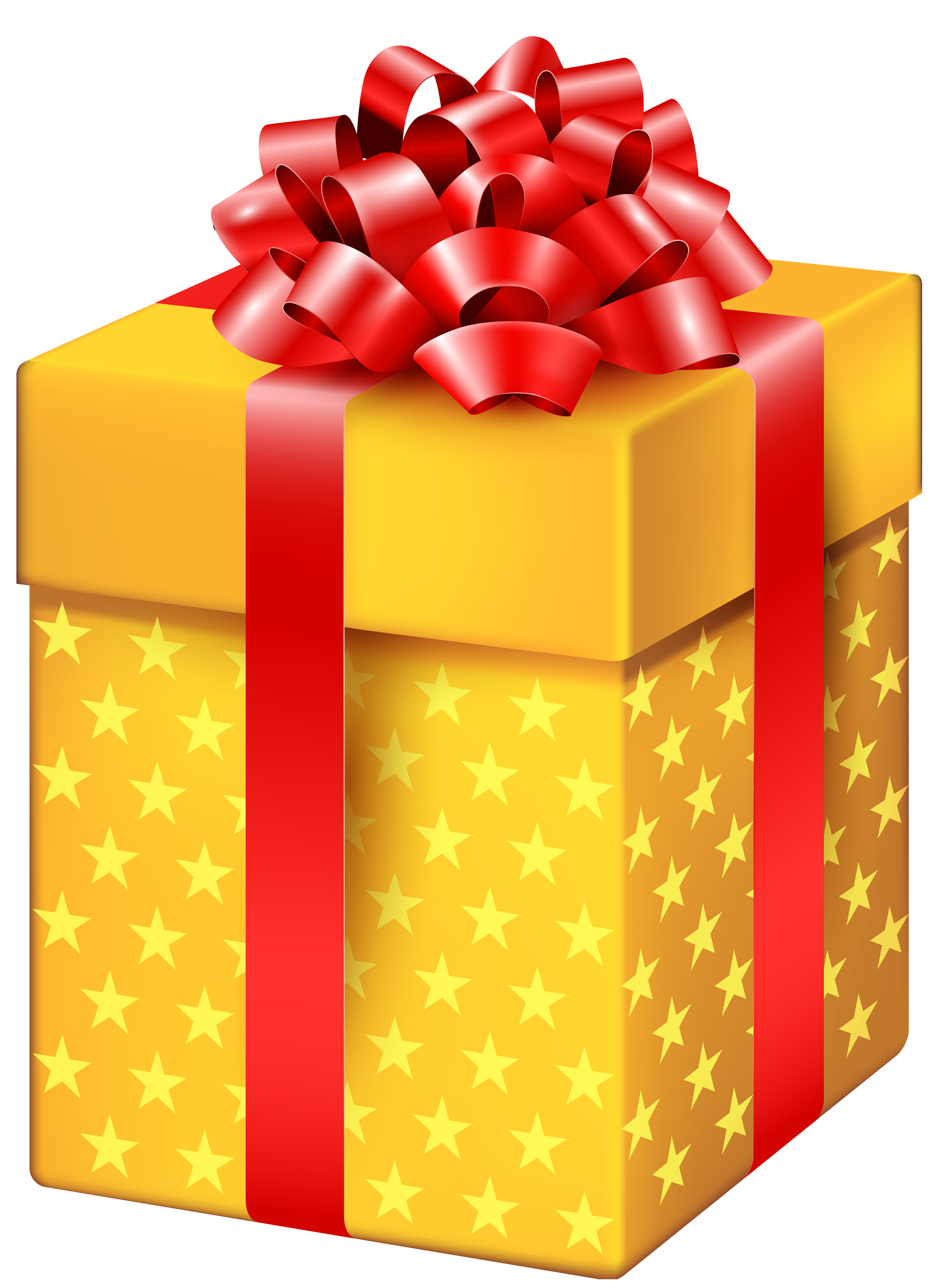 Gift clipart. Yellow box with stars