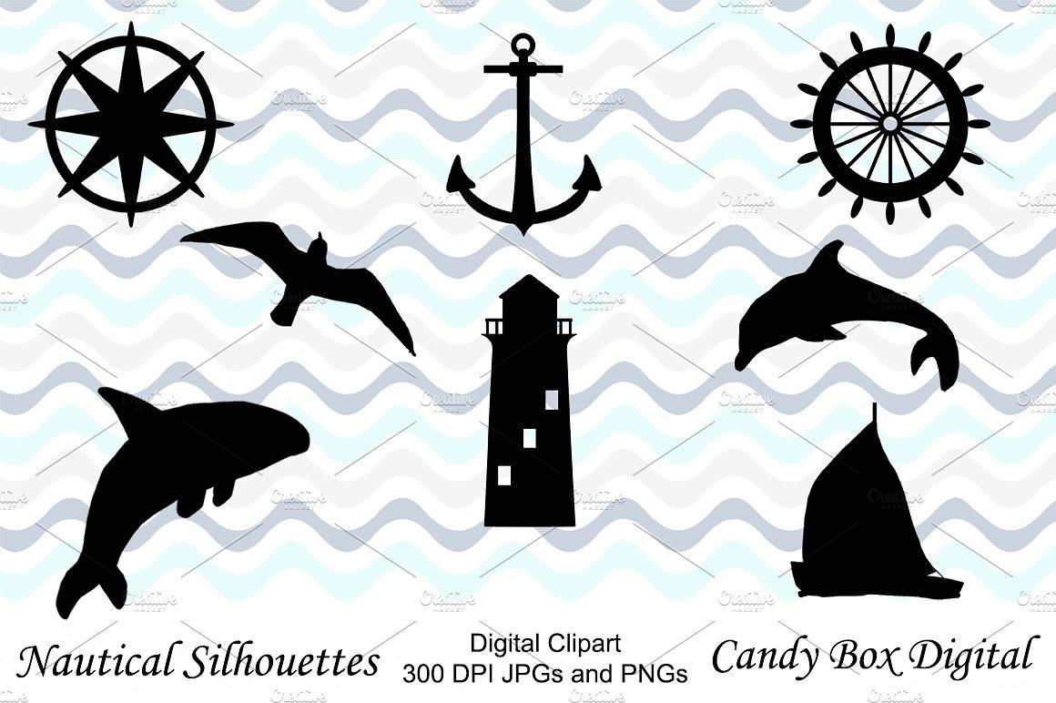 Nautical clip art illustrations. Box clipart silhouette