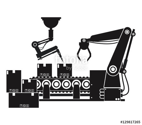 Box clipart silhouette. Packing automated robotic production