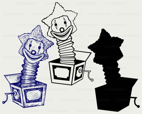 Jack svg clown svgclown. Box clipart silhouette