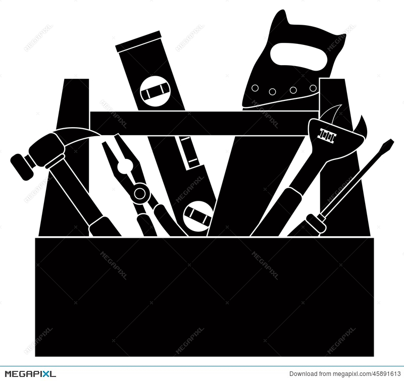 Box clipart silhouette. Construction tools in tool