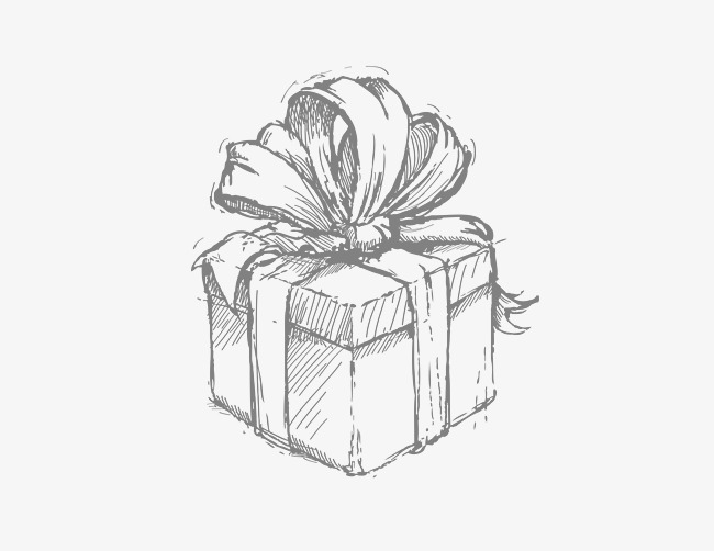 Boxes clipart sketch. Hand painted box gift