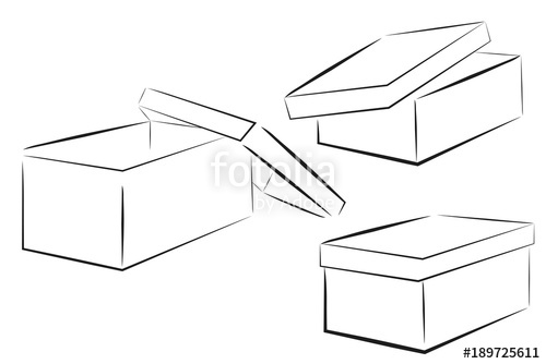 Box clipart sketch. Of three perspective shoe