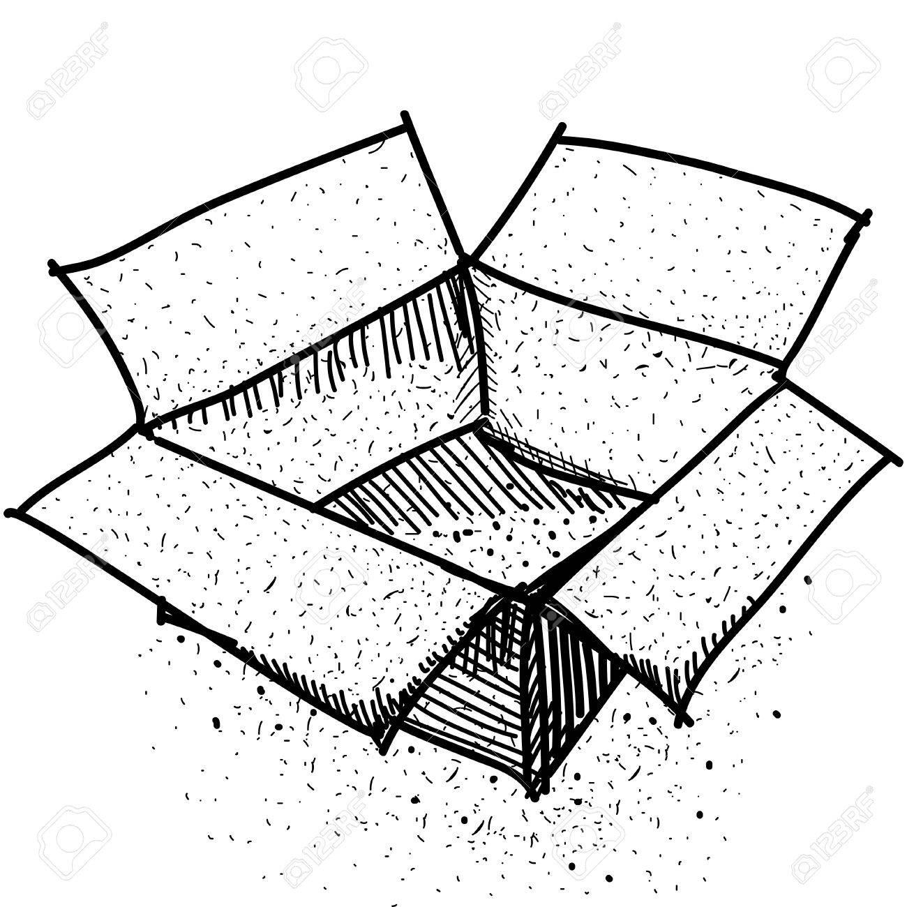 Cardboard drawing at getdrawings. Box clipart sketch