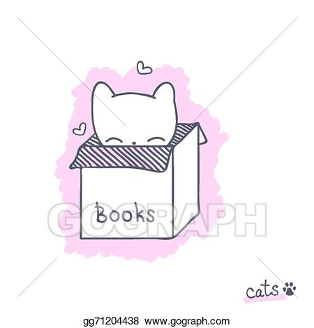 Vector art with kitten. Boxes clipart sketch