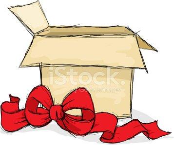 Box clipart sketch. Open gift premium clipartlogo