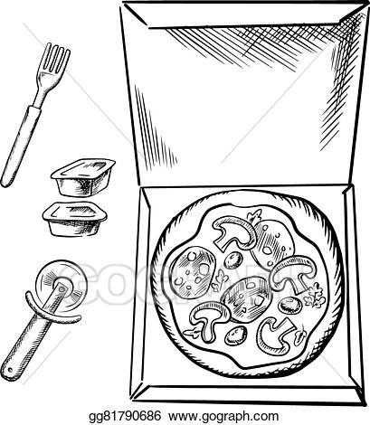 Eps illustration pizza sauce. Box clipart sketch