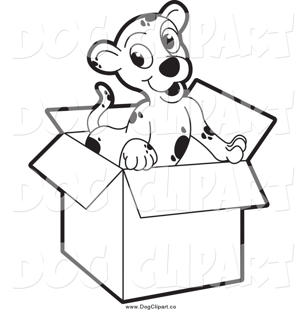 Dog pencil and in. Box clipart sketch
