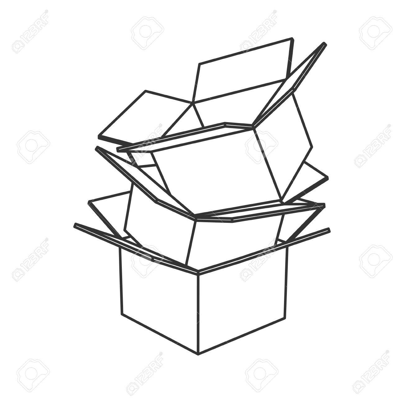 Cardboard box at getdrawings. Boxes clipart line drawing