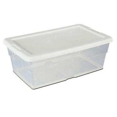 Box clipart storage bin. Sterilite quart plastic shoe