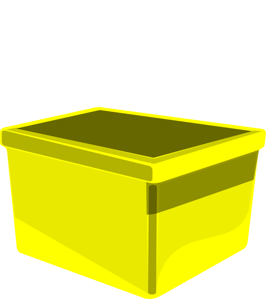 Clipart box storage bin. Yellow clip art at