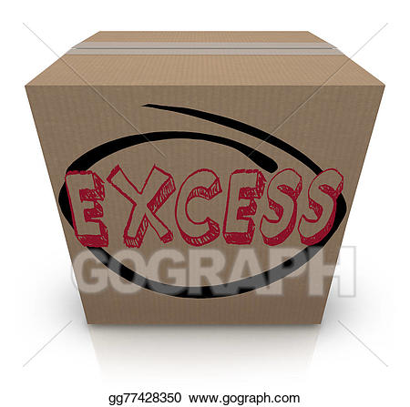 Box clipart supply. Stock illustration excess word