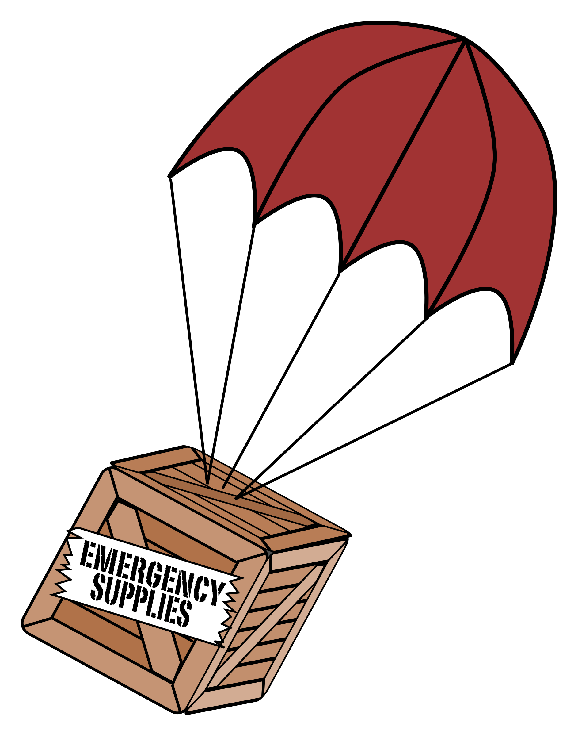 Clipart backpack parachute. Emergency supplies boxchute big