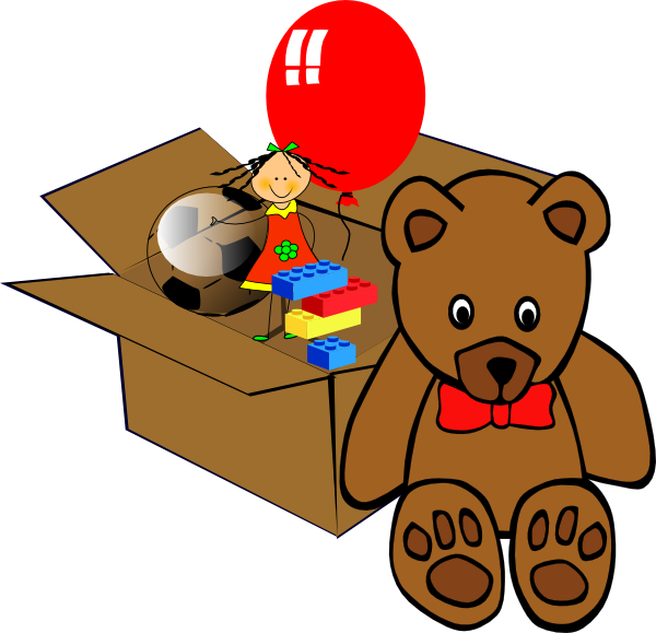 Full of toys clip. Clipart box cartoon