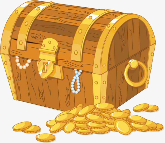 Boxes clipart tresure. Golden treasure chest unpack