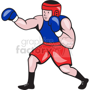 Boxing clipart. Boxer punching side royalty