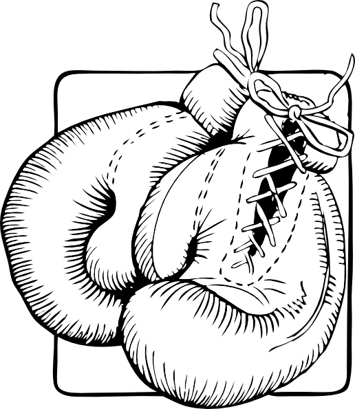 Boxer clipart black and white. Boxing gloves outline clip