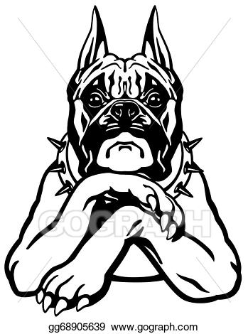 Vector illustration dog stock. Boxer clipart black and white