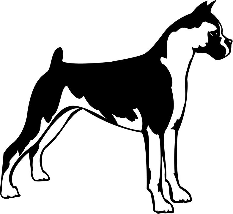 Dog silhouette clip art. Boxer clipart black and white
