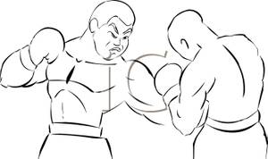 Boxer clipart black and white. A silhouette of two