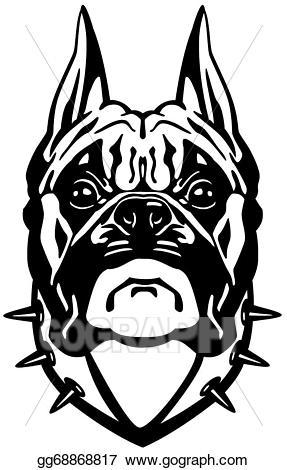 Vector stock head black. Boxer clipart boxer dog