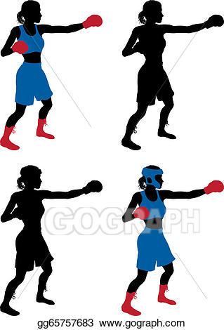 Boxer clipart boxercise. Eps illustration female boxing