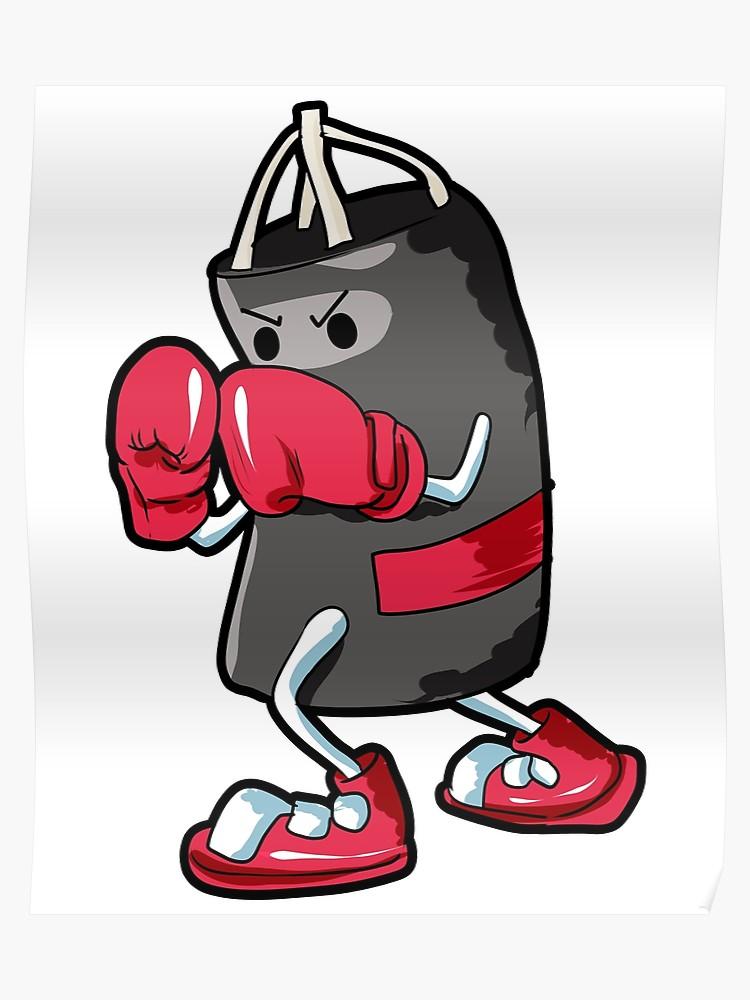 Punching guy cartoon comic. Boxer clipart boxing bag