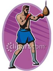 Image of a man. Boxer clipart boxing bag