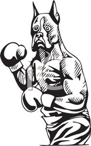Boxer clipart boxing glove. A black and white
