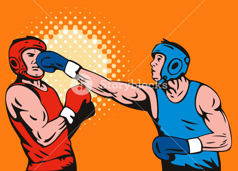 Boxing clipart boxing knockout. Boxer connecting punch royalty