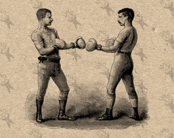 Fight etsy vintage image. Boxer clipart boxing match