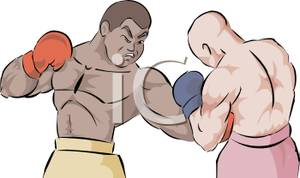 Men participating in a. Boxer clipart boxing match