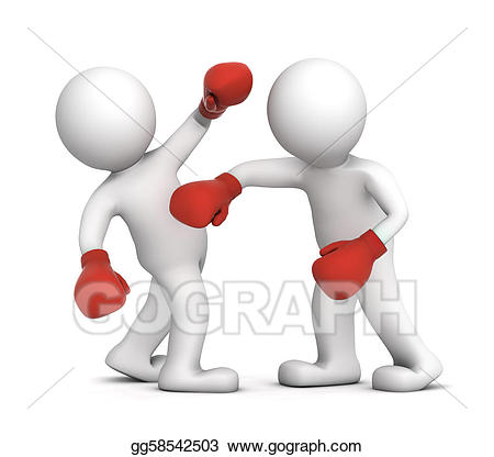 Stock illustration two boxers. Boxing clipart boxing match