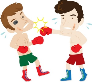 Boxers fighting . Boxing clipart fighter