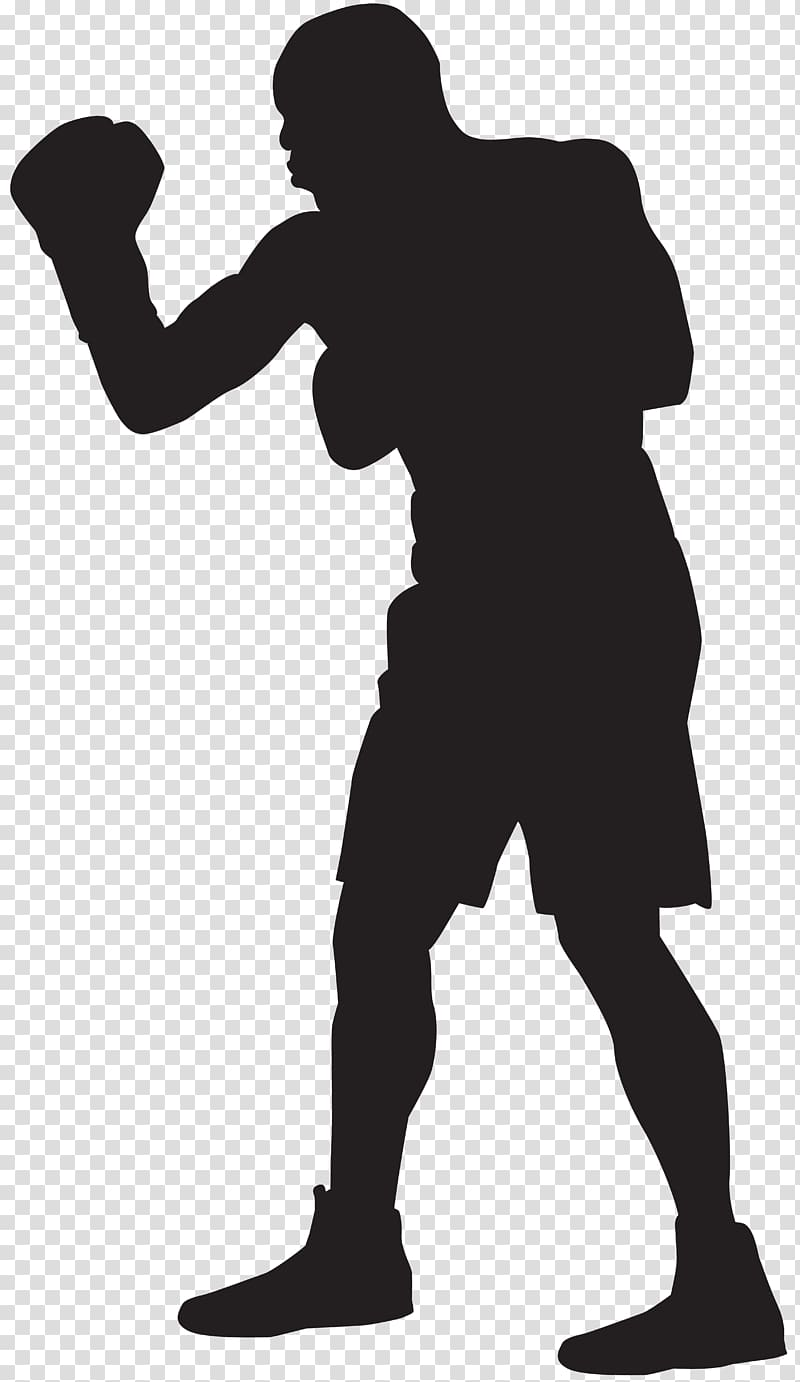 Silhouette of man wearing. Boxer clipart boxing player