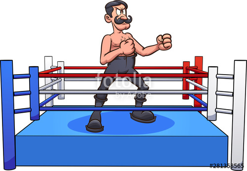 Retro cartoon male with. Boxer clipart boxing ring