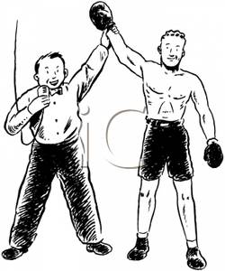 Picture a referee announcing. Boxer clipart boxing winner