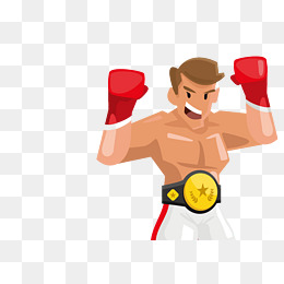 Boxer clipart boxing winner. Cartoon png vectors psd