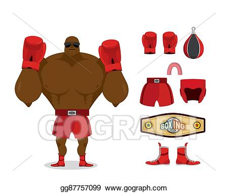 Eps illustration and accessory. Boxer clipart boxing winner