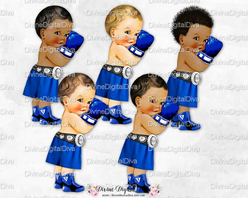 Royal blue shorts gloves. Boxer clipart boy