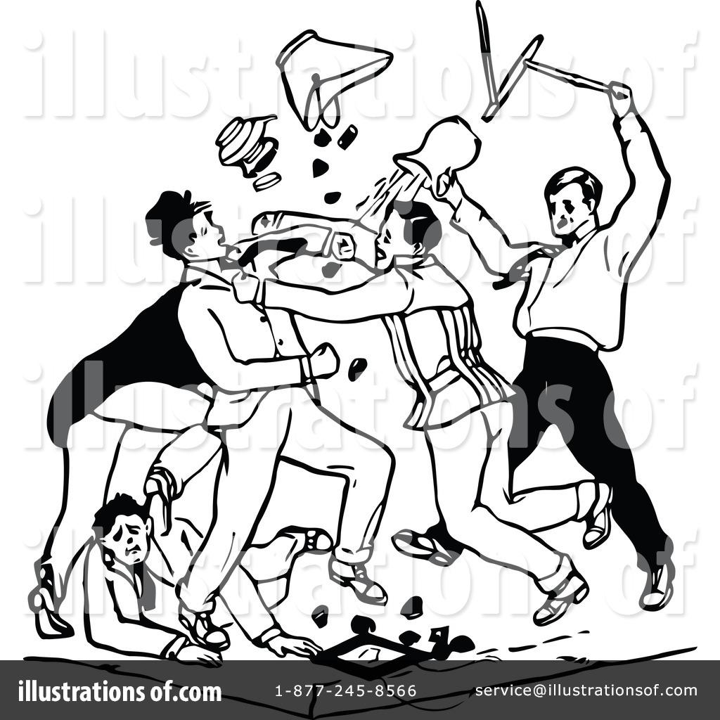Illustration by prawny vintage. Fighting clipart brawl