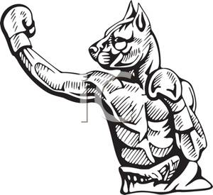 Boxer clipart cartoon. A black and white