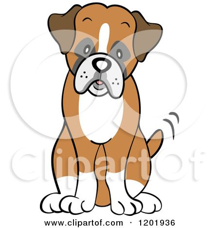 Boxer clipart cartoon. Of a cute dog